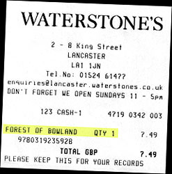 Bookshop receipt. ©NRT
