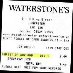 Bookshop receipt. ©NRT