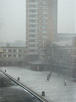 Alex Square, Lancaster University - as snowy as it gets. Copyright NRT, 2004