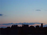 Lancaster Castle and Priory silhouetted.  Copyright NRT, 2004